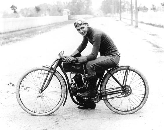 A motorcycle racer, c. 1912.<br /> Photo courtesy of Bob Eckardt