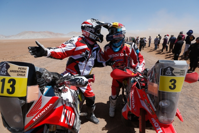 Gerard Farres Guell of Spain, left, and Honda rider Helder Rodrigues of Portugal