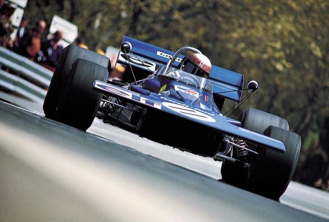 F11971JackieStewartbehindthewheelofTyrrellFordduringSpanishGrandPrixatMontjuich